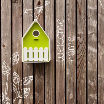 Landhaus vogelhuisje wit / lime