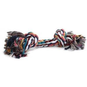 Flossytouw gekleurd met 2 knopen hondenspeelgoed - 125 gram