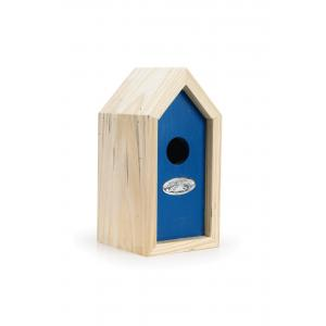 Houten nestkast voor winterkoning blauw