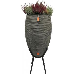 Capi Nature Rib regenton antraciet 130L met plantenbak