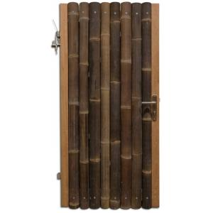 Bamboe schutting poortdeur zwart 90 x 200 cm x 60-80 mm