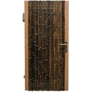 Bamboe schutting poortdeur zwart 90 x 180 cm x 18-28 mm
