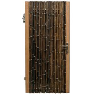 Bamboe schutting poortdeur zwart 90 x 200 cm x 18-28 mm