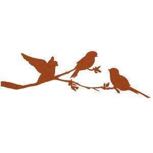 Metalen vogel bloesem cortenstaal