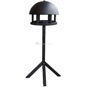Vogelvoederhuis dome black metaal op standaard