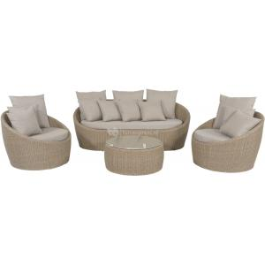 Aruba loungeset wicker taupe