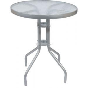 Terrastafel met glasplaat 60 cm zilver