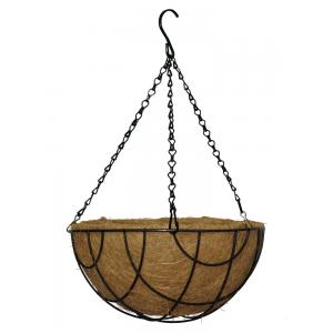 Hanging basket zwart gecoat met kokos inlegvel - Hanging basket Ø 30 cm