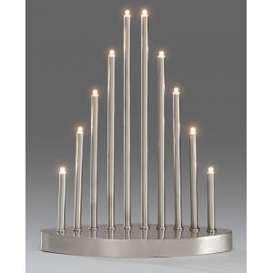Kerstkandelaar metaal met 10 LED lampjes