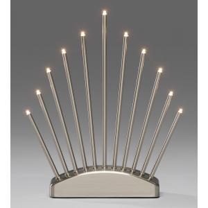 Kerstkandelaar metaal met 11 LED lampjes