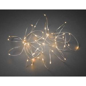 Micro LED lichtdraad zilver met 50 extra warm witte lampen