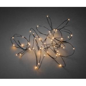 Micro LED lichtdraad zwart met 50 extra warm witte lampen