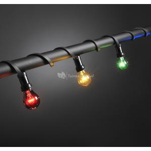 Feestverlichting met gekleurde e27 lampen - 7 meter - 10 lampen