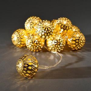 LED deco lichtsnoer met goudkleurige sierballen