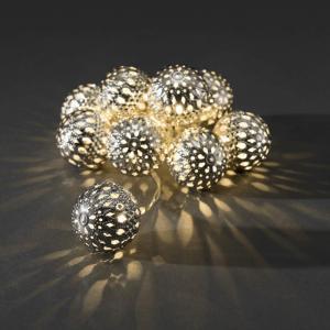 LED deco lichtsnoer met zilverkleurige sierballen