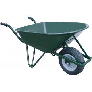 Metalen kruiwagen 120 liter ovaal groen - Anti-lek band