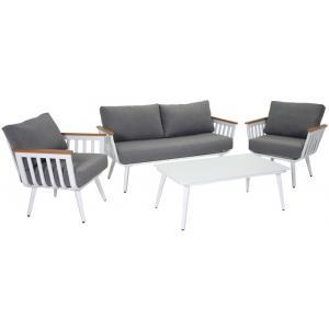 Pandora loungeset aluminium wit
