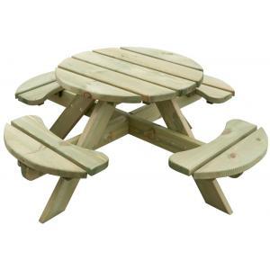 Houten kinderpicknicktafel rond