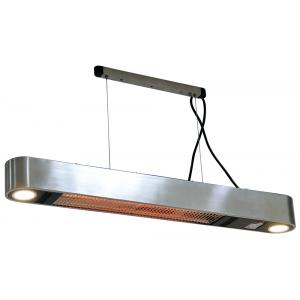 Ellips 1500 watt wand terrasverwarmer met verlichting - Rvs