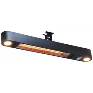 Ellips 1500 watt wand terrasverwarmer met verlichting - Zwart