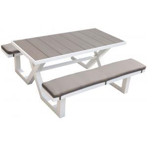 Picknicktafel aluminium 160cm wit